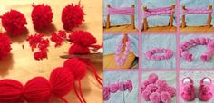 Tutos et DIY faire des pompons en laine Yarn Crafts, Diy And Crafts, Crafts For Kids, Crochet, Creations, Kids Rugs, Sewing, Magazine, Couture