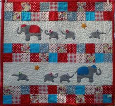 cute border idea for my elephant quilt Elephant Quilt, Elephant Blanket, Elephant Applique, Star Quilts, Children's Quilts, Quilt Blocks, Quilting Projects, Quilting Designs, Sewing Projects