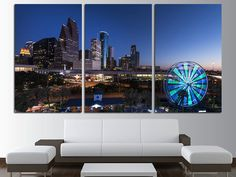 Houston Night Lights Canvas Wall Art Set Cityscape Wall Art Cityscape Canvas Art Houston Canvas Print & New York Cityscape Canvas Print Wall Art Multi Panel Wall Decor/ New ...