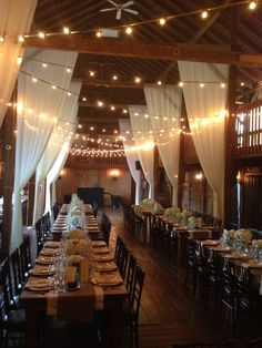 Farm Tables at the Barns / http://www.himisspuff.com/rustic-indoor-barn-wedding-reception-ideas/2/