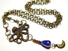 Bronze Octopus Necklace  Steampunk Necklace  by MURPHYSTREASURES2
