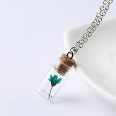 2017 Hot Sale Fashion Jewelry Necklace Girl Flowers & Plants Pendant Wishing Bottle Necklaces Multi-colors Gift For Women NZ2230
