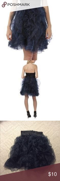 Zac Posen One Piece Ruffled Skirt Zac Posen for Target Ruffled Skirt. Classic Posen look. -Removable ruffle tutu skirt -Midnight Blue Net Ruffled Skirt overlay  -Hook closure -Above knee-mid thigh length   I only worn 1 or 2 times and can't seem to find the dress. But the skirt is still great and can go over any black dress Zac Posen Skirts Midi