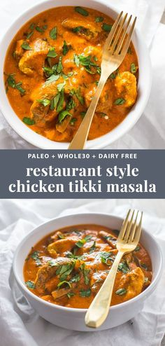 Best Chicken Tikka Masala (Restaurant Style, Paleo, Dairy-Free) This restaurant style chicken tikka masala recipe will fool even the most hardcore of takeout enthusiasts. This paleo chicken tikka masala recipe is rich and creamy with tender bites Chicken Tikka Masala Rezept, Pollo Tikka Masala, Chicken Tikki Masala Recipe, Paleo Dinner, Dinner Recipes, Dinner Healthy, Holiday Recipes, Dinner Ideas, Cena Paleo