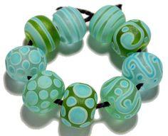 Handmade Lampwork Glass Beads Set Flameworked Green Aqua Turquoise