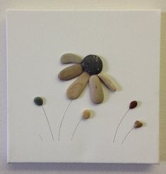Beach Stone Artwork/ Pebble Art/ Canvas by EmilysNatureEmporium