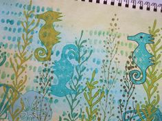 LIVING WATERS ART JOURNAL PAGE by @mycollageart  using #TCW619 Corncob Etching designed by @czekoczyna Art Journal Pages, Art Journaling, Sea Creatures, Beautiful Words, Stencils, Mixed Media, Workshop, Designers, Crafty