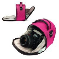 MAGENTA HOT PINK Compact Entry Level Canon Camera Bag for Canon EOS Rebel T3 - T3i - T2i - T1i - XS / EOS 60D - 7D / 5D Mark III 3 - 5D Mark II 2