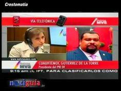 Confronta Carmen Aristegui a Cuauhtémoc Gutiérrez de la Torre vía telefó...