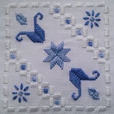Fabric: 22ct Hardanger<br />Threads: Anchor perle #5 & #8 & stranded cotton (1, 130, 131)