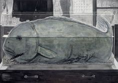 a narrow room, 205 X 145 cm, Muk and acrylic on Korean paper, 2007  #art #artwork #painting #drawing