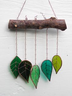 "Sun Catcher Glass Leaves 'Spring Leaves' Hanging Wind Chime/Mobile Window Glass Art. Real Birch Wood. Christmas Gift 14""x 8"" by WylloWytch on Etsy"