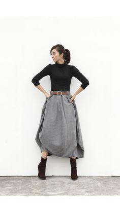 Woollen Lagenlook maxi skirt