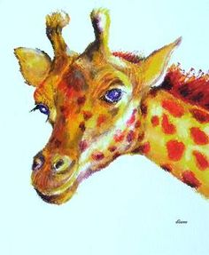 """""""Penny Plain"""" by Diane Kraudelt: Penny the Giraffe sits for her portrait.  This original oil pastel is one of my whimsical drawings. Birds, giraffes, cows, elephants and anything I can think of are given a light touch in these dra..."""