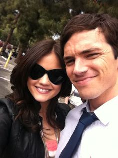 Lucy Hale and Ian Harding- Pretty Little Liars Pretty Little Liars, Ezra And Aria, Laura Leighton, Vanessa Ray, Ezra Fitz, Ian Harding, Funny Films, Cody Christian, Colleen Hoover