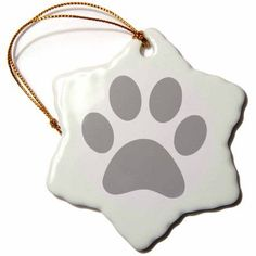3dRose Grey paw print on white - gray animal pawprint - cute cartoon animal footprint - dog cat foot print, Snowflake Ornament, Porcelain, 3-inch