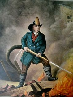 Currier and Ives Fireman | HEROIC Currier and Ives American Fireman Facing the Enemy 1858 print ...