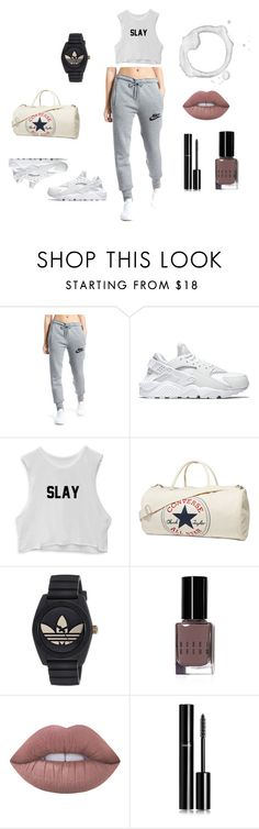 """""""Untitled #10"""" by kocob ❤ liked on Polyvore featuring NIKE, Converse, adidas, Bobbi Brown Cosmetics, Lime Crime and Chanel"""