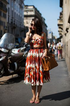 italy with hermes camel birkin and 40s pinup summer dress. But make the top and skirt meet