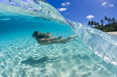 Swimming just beneath a beautifully breaking Caribbean wave!