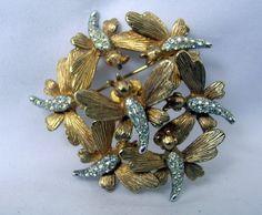 Boucher Gold Tone Butterfly Trembler Brooch