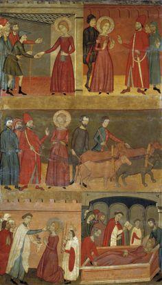 """Retablo de la leyenda de Santa Lucía"""", Maestro de Estamariú (1357 - 1385)  Another plaid cotehardie"""