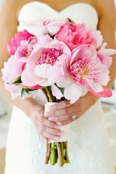 brides of adelaide magazine - bridal bouquet - wedding flowers - pink - peonies