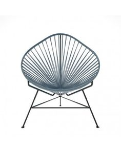 Acapulco Chair Gray Cord Black Frame Happy Birthday Steve, Acapulco Chair, Grey Chair, Interior Design Inspiration, Steel Frame, Cord, Cold Drinks, Outdoor Furniture, Pillows