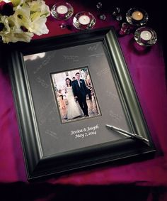 Personalized Black Framed Inscribable Signature Keepsake Mat Kit. I love this signature frame I'm getting the large one to display on my wall. - Click image to find more Weddings Pinterest pins