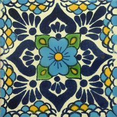Traditional Mexican Tile - Lluvia, Azul