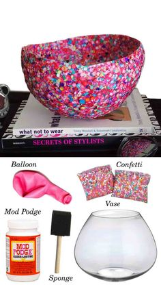 Bol de Confeti DIY 2 ingenioso confetti bowl by muyingenioso - Party Ideas Diy Arts And Crafts, Cute Crafts, Crafts To Do, Creative Crafts, Crafts For Kids, Handmade Crafts, Decor Crafts, Diy Projects To Try, Craft Projects