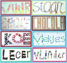 Benodigdheden: tekenpapier op A6 formaat (briefkaart) kleurpotloden of viltstiften zwarte fineliner Elke leerling bedenkt een woord dat hij...