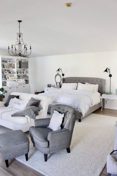 Cozy white master bedroom- An updated space with new flooring and a retiled fireplace Teen Bedroom, Bedroom Inspo, Bedroom Ideas, Master Bedroom, Bedroom Decor, Cool Diy Projects, Home Projects, Project Ideas, Craft Projects