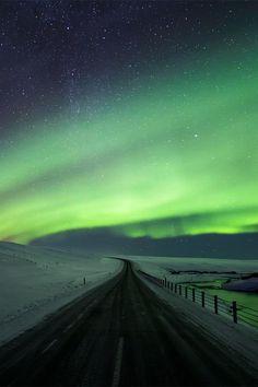 La vía de Aurora por el norte de Islandia.