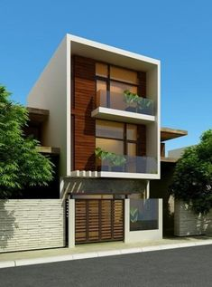 ke nha ong 3 tang-gara trong thiet ke nha lo-co tuong rao Modern House Plans, Modern House Design, Contemporary Architecture, Architecture Design, Building Design, Building A House, Modern Townhouse, Narrow House, Villa