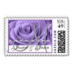 Bride & Groom Monogram PURPLE Rose Postage #wedding #stamps #love #marriage #romance #bride #groom #jaclinart #love #postage #monogram #purple #rose