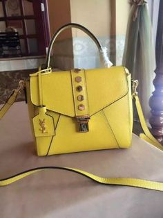 2016 Summer Yves Saint Laurent Small Satchel Bag in Yellow Leather
