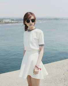 white two piece dress sporty casual