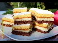 This cake with coconut filling and bicolor sponge cake is a very easy dessert, it looks so well and is very very tasty. I've made a simple batter and I hav Instagram Widget, English Food, Sponge Cake, Easy Desserts, Cheesecake, Coconut, Tasty, Sweets, Cookies