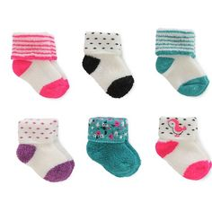 Just One You™Made by Carter's® Baby Girls' 6 Pack Reverse Terry Cuff Socks : Target
