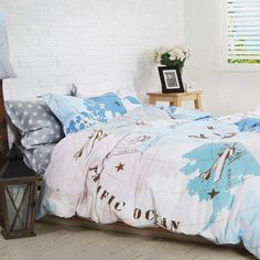 Brighten up your bedroom with these boy's vintage airplane print bedding sets. Bring the sky into the bedroom with these vintage airplane bedding sets. brighten up your child's bedroom with the bright and buoyant train bedding sets. Budget Bedroom, Bedroom Themes, Bedroom Decor, Bedroom Ideas, Bedroom Designs, Bedroom Wall, Twin Bedroom Sets, Bedding Master Bedroom, Cotton Bedding Sets