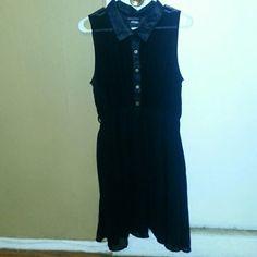 Black chiffon dress 5 gold button collar chiffon dress Fashion to Figure Dresses