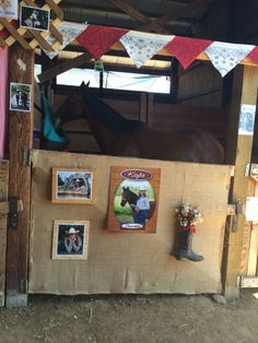 """Fantastic """"tow horses for shows"""" detail is available on our website. Have a look and you wont be sorry you did. Barn Stalls, Horse Stalls, Horse Barns, Barn Crafts, Horse Crafts, Horse Stall Decorations, 4h Fair, Stall Signs, Show Cattle"""