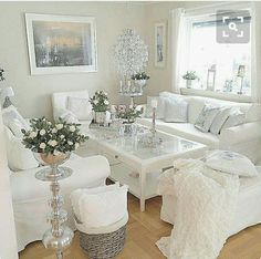 Beautiful Romantic Living Room Design And Decor Ideas - Living-room is the most significant and most open room at home, it invites visitors, it mirrors our lifestyle, so it ought to be only kept up. You sho. Living Room Inspiration, Shabby Chic Living Room, Romantic Living Room, Glam Living Room Decor, Living Room Designs, Glam Living Room, Living Room White, Silver Living Room, Room Design