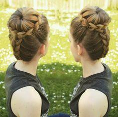 Dutch braid into a lace braided bun