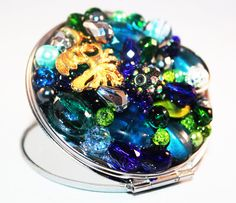 Gift Ideas  Compact Mirror Jeweled  Blue and by EnchantedDooDads, $22.95