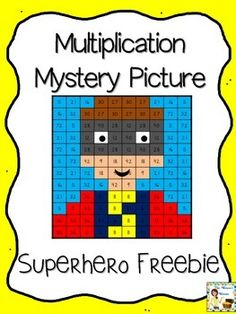 Free Superhero Mystery Picture (Multiplication) Your kids will love discovering the superhero mystery picture as they practice their multiplication facts! Solve the problems then use the key to color in the boxes and create the picture! Classroom Freebies, Math Classroom, Superhero Classroom, Classroom Ideas, Superhero Room, Classroom Inspiration, Teaching Multiplication, Teaching Math, Multiplication Strategies