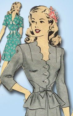 1940s Vintage WWII Peplum Dress 1944 Hollywood Vtg Sewing Pattern Sz 30 B #Hollywood #TwoPiecePeplumDress
