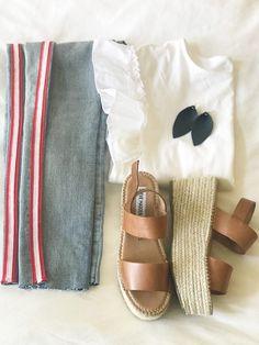 -- racing stripes jeans -- racing stripes jeans summer outfit -- platform espadrilles -- white tshirt and jeans outfit -- simple summer white shirt outfit -- white shirt and espadrilles outfit -- white shirt and jeans outfit -- raw hem jeans outfit -- red stripes jeans outfit -- casual white ruffle sleeve shirt outfit -- weekend outfit -- weekend summer outfit -- weekend spring outfit --#tiffaniatbretonbay