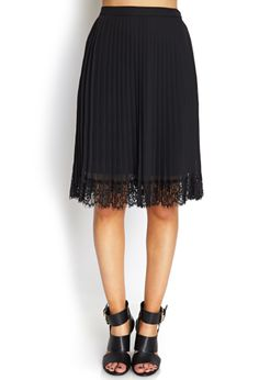 Pleats & Lace Midi Skirt | FOREVER21 - 2000061159